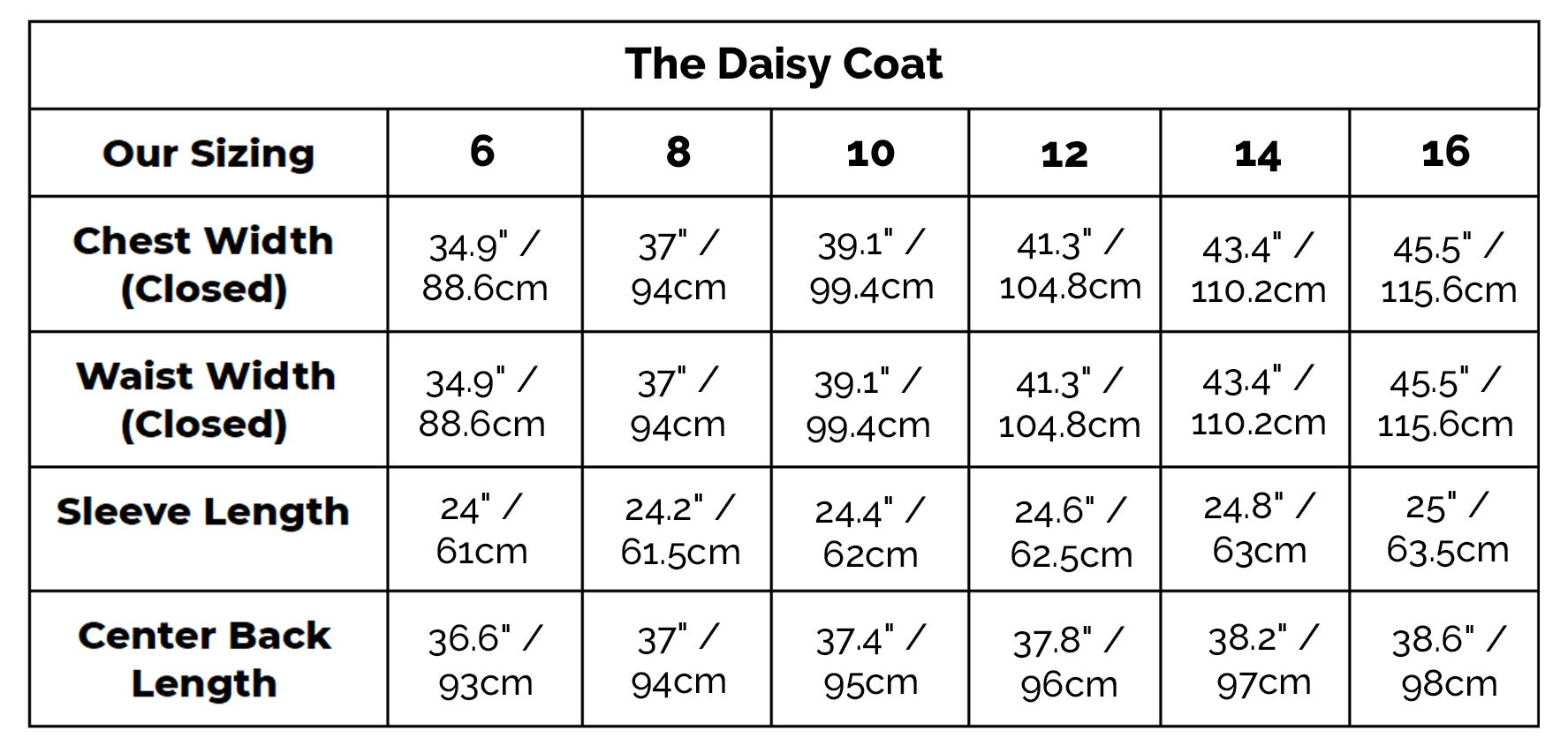 The Daisy Coat Size Guide