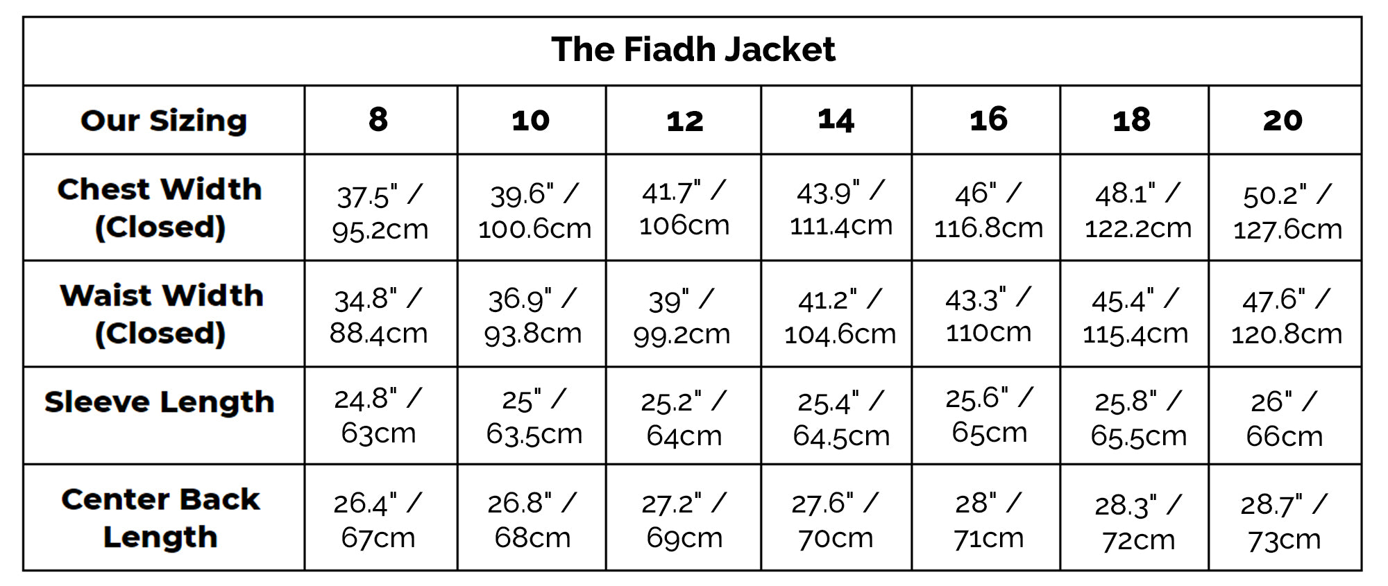 The Fiadh Jacket Size Guide