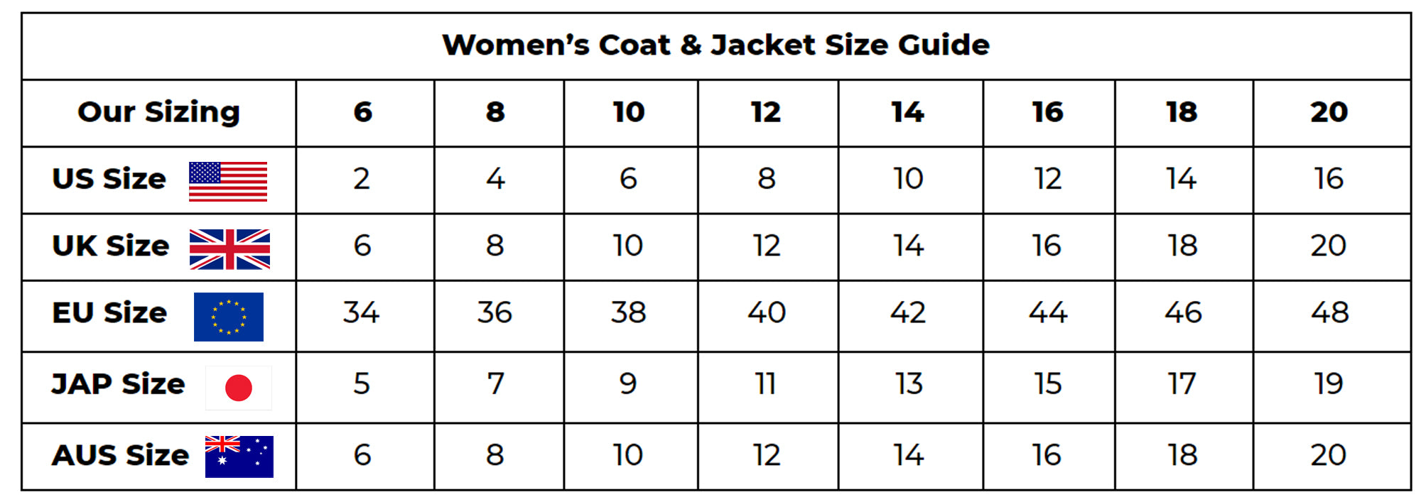 Women's Tweed Coat and Jacket Size Guide | Triona Design