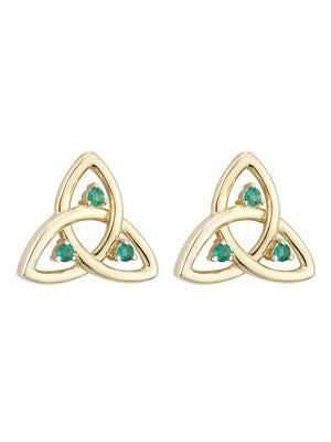 Trinity Knot Stud Earrings with Emerald, Yellow Gold