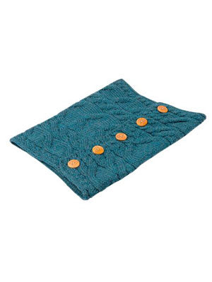Turquoise Aran Snood with Buttons