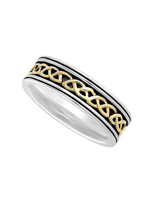 Sterling Silver & 10K Gold Thin Celtic Ring
