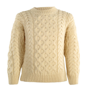Kids Unisex Traditional Aran Crew Neck Sweater, Natural