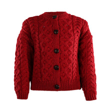 Load image into Gallery viewer, Kids Unisex Aran Lumber Cardigan, Red