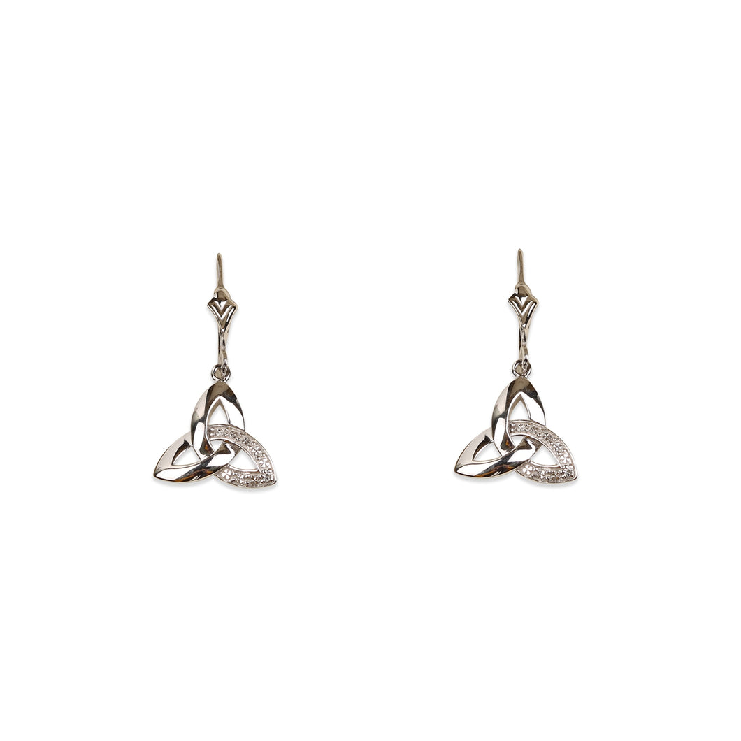 Solvar Diamond Trinity Drop Earrings, White Gold