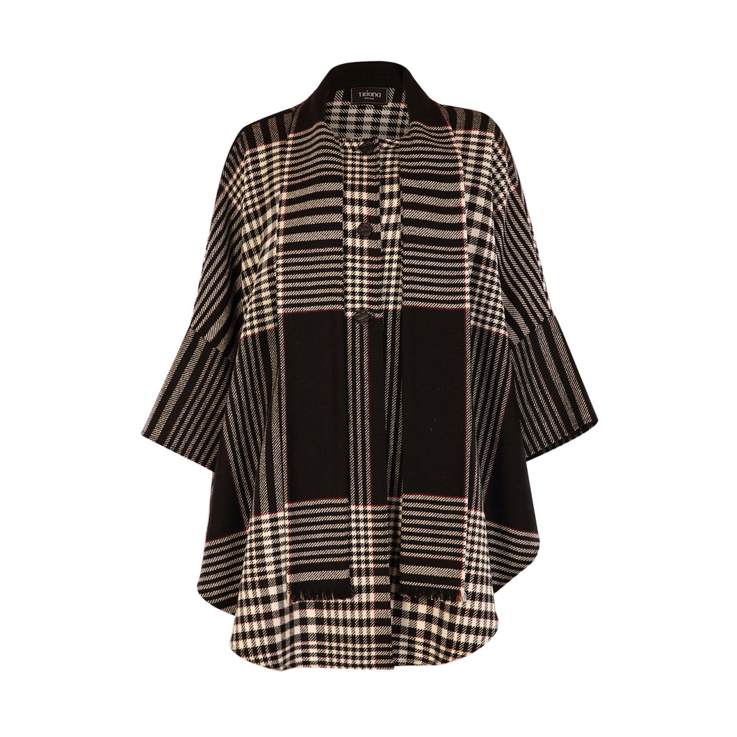 Roisin Cape, Black, White & Red Check
