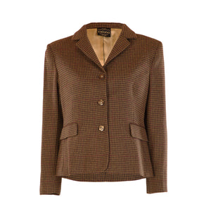 Three Button Short Tweed Jacket - Brown Houndstooth