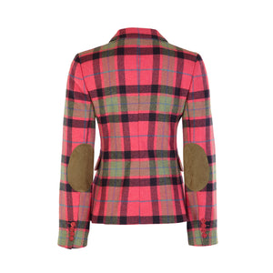 Three Button Short Tweed Jacket - Pink, Navy & Green Check