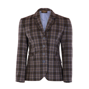 Four Button Double Pocket Hacking Jacket - Blue/Grey Check