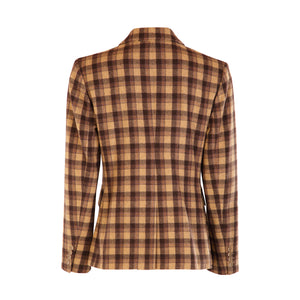 Four Button Double Pocket Hacking Jacket - Choc Brown/Camel Square