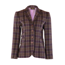Load image into Gallery viewer, Four Button Double Pocket Hacking Jacket - Purple/Beige/Teal Check