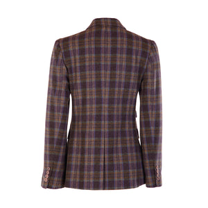 Four Button Double Pocket Hacking Jacket - Purple/Beige/Teal Check