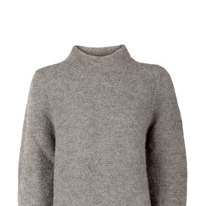 Alpaca Links Stitch Sweater, Oxford Grey