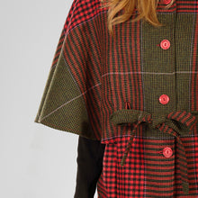 Load image into Gallery viewer, Aoife Cape, Red & Green Houndstooth