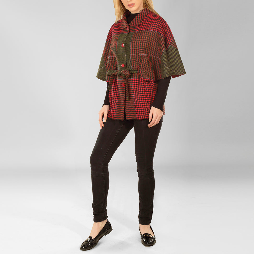 Aoife Cape, Red & Green Houndstooth