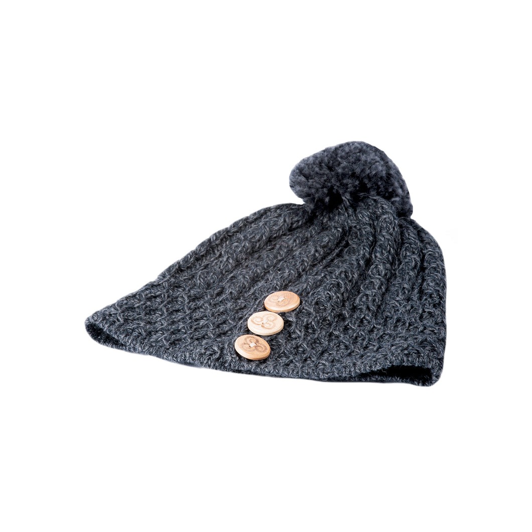 Aran Hat with buttons, Charcoal