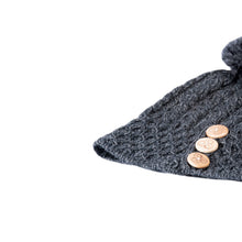 Load image into Gallery viewer, Aran Hat with buttons, Charcoal