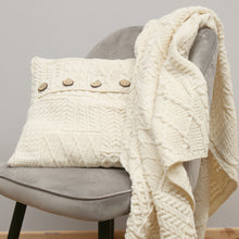 Load image into Gallery viewer, Aran Knit Blanket, Natural