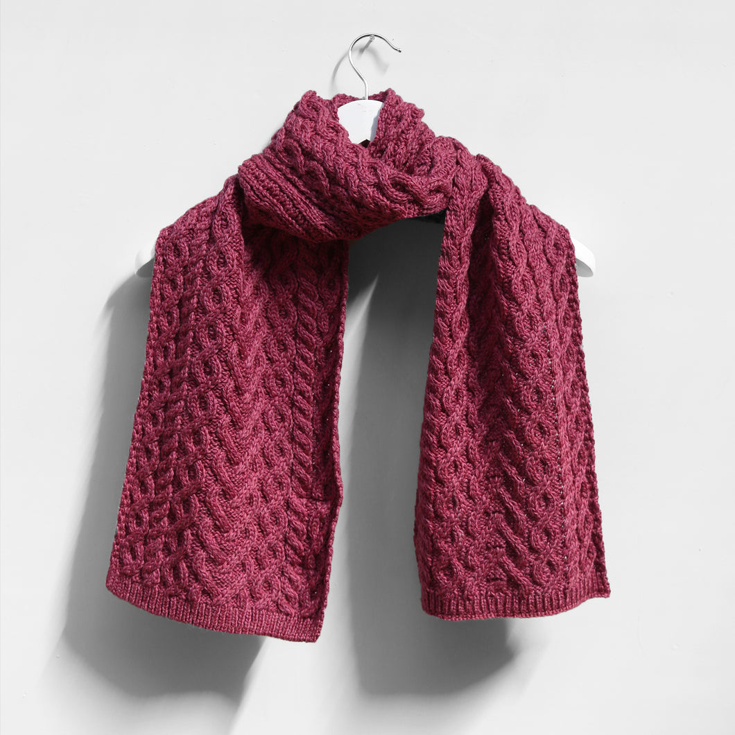 Magenta Cable Knit Scarf