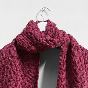 Cable Scarf, Magenta