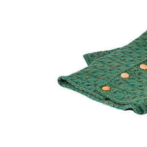 Green Aran Snood with Buttons