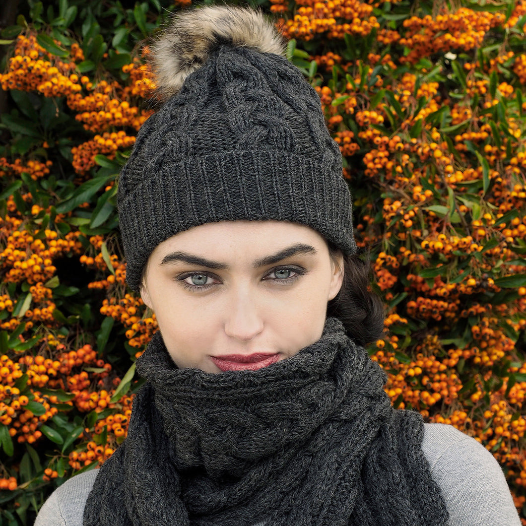 Aran Knit Hat with Bobble, Charcoal