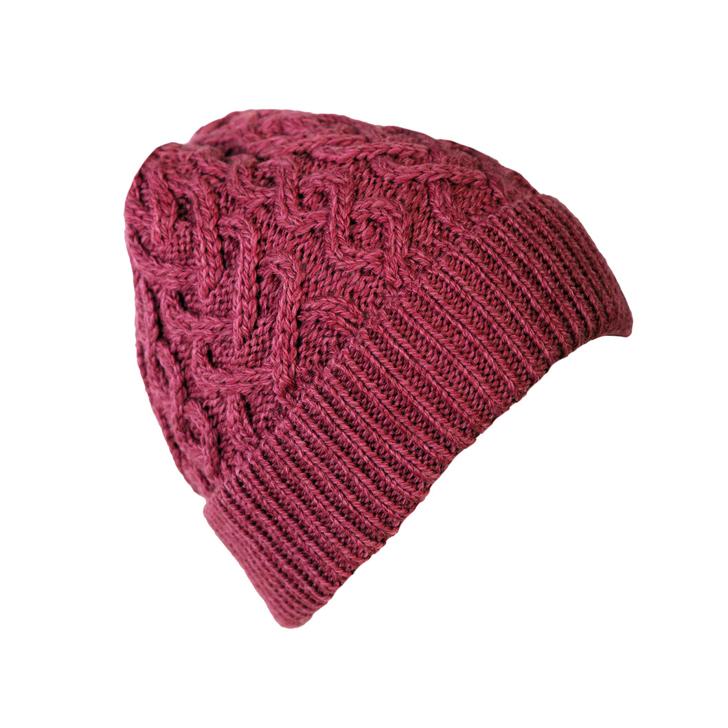 Cable Knit Hat, Magenta