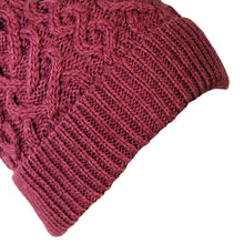Load image into Gallery viewer, Cable Knit Hat, Magenta