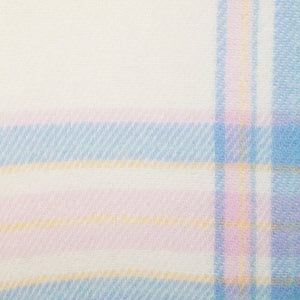 Blue & Pink Border Check Irish Wool Baby Blanket