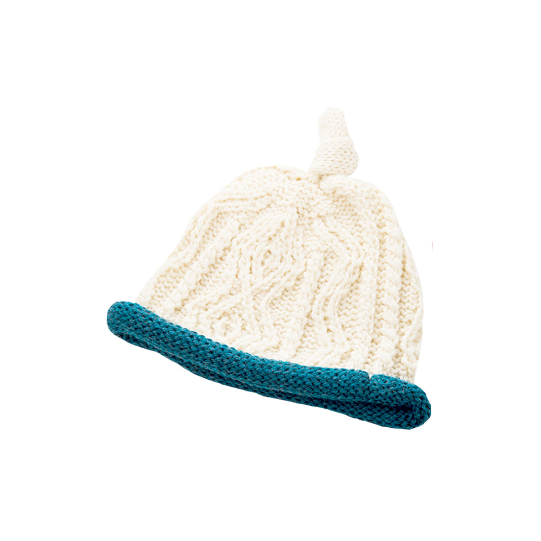 Natural & Blue Wool Baby Hat