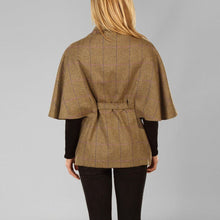 Load image into Gallery viewer, Donegal Tweed Belted Cape - Brown & Purple Windowpane