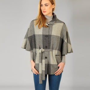 Donegal Tweed Belted Cape - Grey Square