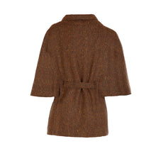 Load image into Gallery viewer, Donegal Tweed Belted Cape - Rust Herringbone