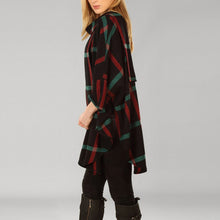 Load image into Gallery viewer, Donegal Tweed Cape - Black, Red & Green Windowpane
