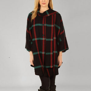 Donegal Tweed Cape - Black, Red & Green Windowpane