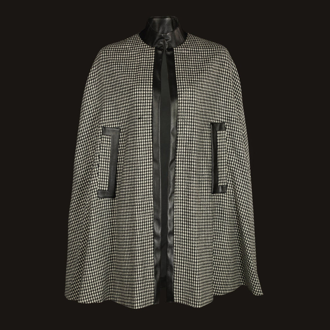 Donegal Tweed Cape - Black & White Houndstooth