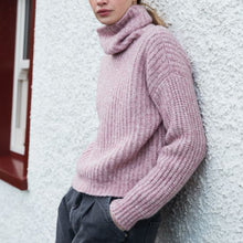 Load image into Gallery viewer, Boxy Ribbed Polo Neck Sweater, Pink