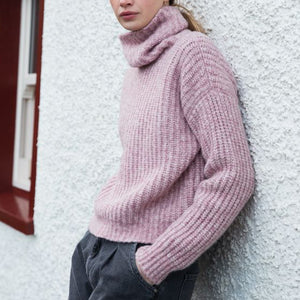 Boxy Ribbed Polo Neck Sweater, Pink