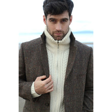 Load image into Gallery viewer, Natural Unisex Hand Knit Aran Zip Cardigan