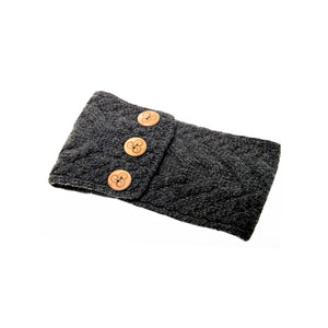 Aran Headband with Buttons, Charcoal