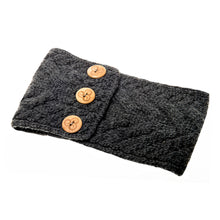 Load image into Gallery viewer, Aran Headband with Buttons, Charcoal