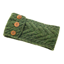 Load image into Gallery viewer, Aran Headband with Buttons, Green