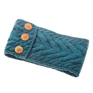 Turquoise Aran Knitted Headband with Buttons