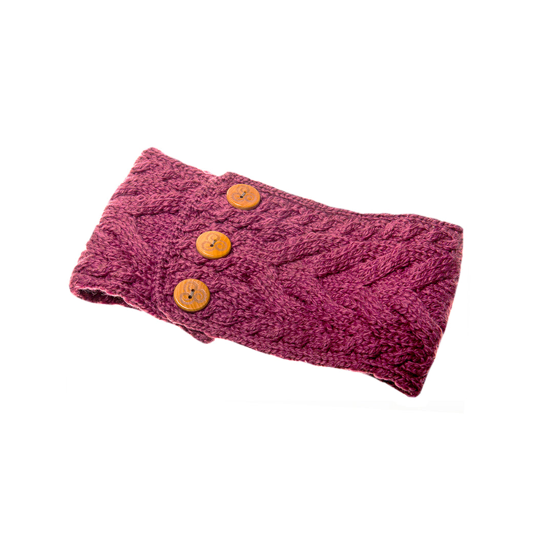 Aran Headband with Buttons, Rose