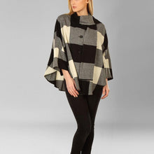 Load image into Gallery viewer, Donegal Tweed Cape - Black & Cream Square
