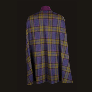 Donegal Tweed Cape - Purple & Green Check
