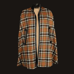 Donegal Tweed Cape - Camel & Black Check