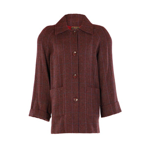 Tweed Car Coat - Cranberry