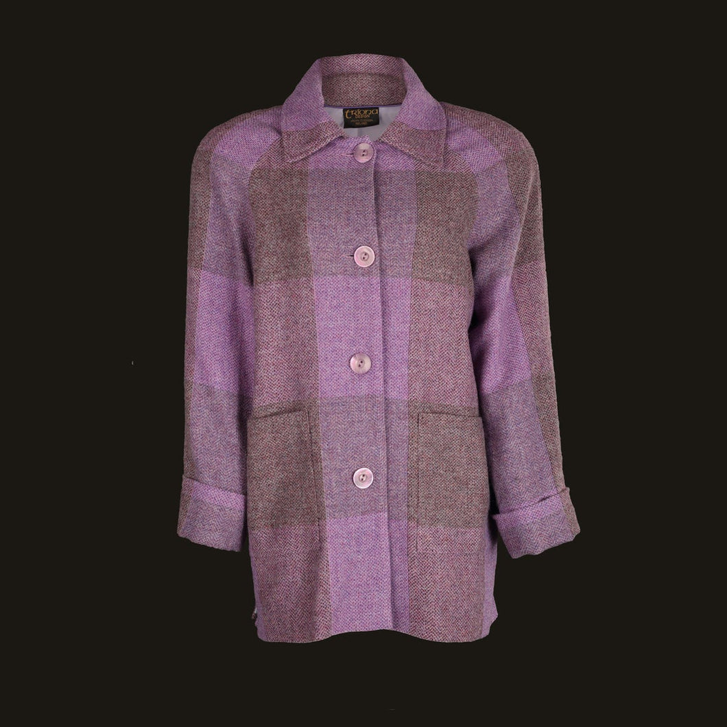 Donegal Tweed Car Coat - Mauve Square