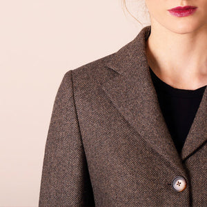 Catriona Jacket, Brown Herringbone